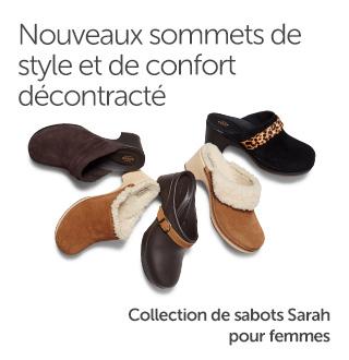 Nouveaux sommets de style et de confort décontracté. Collection de sabots Sarah pour femmes.