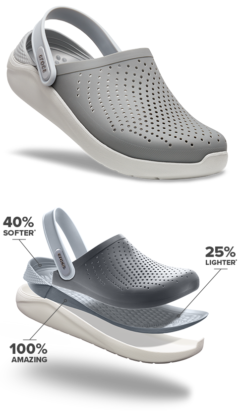 Technology of the LiteRide™ Clog. 40% softer, 25% lighter, 100% amazing