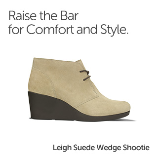 Raise the bar for comfort and style. Leigh Suede Wedge Bootie