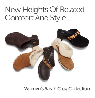 New Heights Of Relaxed Comfort And Style. Women's Sarah Clog Collection.