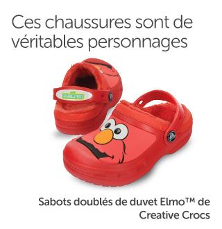 Ces chaussures sont de véritables personnages. Sabots doublés de duvet Elmo™ de Creative Crocs.