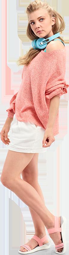 Actress Natalie Dormer in Women's LiteRide Sandal.