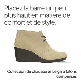 Placez la barre un peu plus haut en matière de confort et de style. Collection de chaussures Leigh à talons compensés