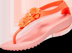 Tongs décorées Serena de Crocs pour femmes, Corail lumineux/Melon