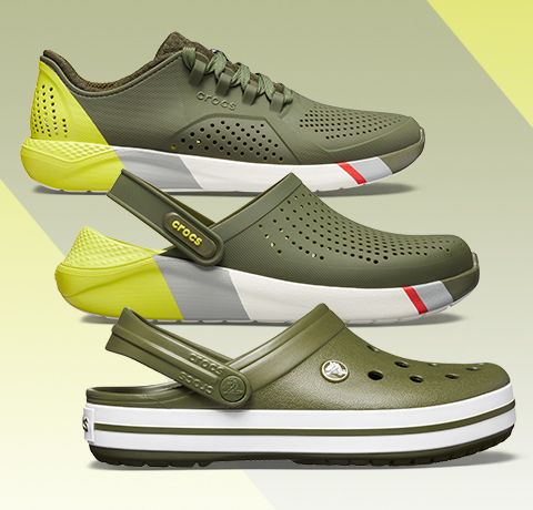 Men's LiteRide™ Colorblock Pacer, Army Green/White & LiteRide™ Colorblock Clog, Army Green/White & Crocband™ Clog, Army Green/White.