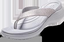 Women's Capri Metallic Texture Wedge Flip, Silver/Silver.