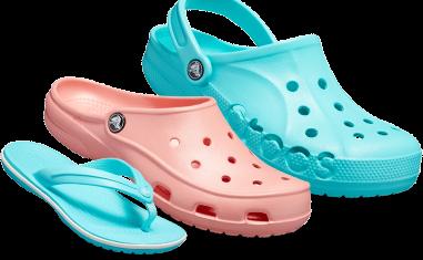 Kids' Crocband™ Flip, Pool Blue & Women's Crocs Freesail Clog, Melon & Baya Clog, Pool Blue.